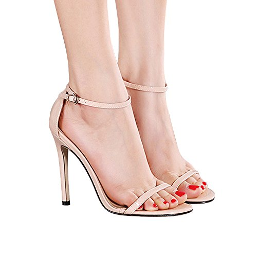 Women's 2017 Summer New Patent Leather Open Toe Ankle Strap Stiletto High Heels Sandals Party Pumps Apricot VJLnv