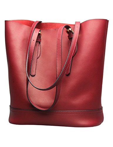 - Tote Shoulder Handbag, Genuine Leather Bucket Purses Bags Large Capacity for Women (Winered)