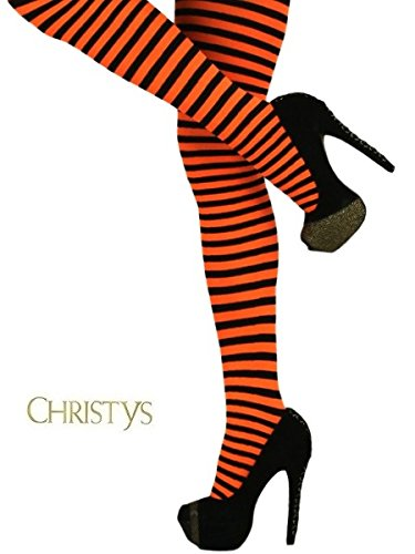 (amscan Orange & Black Striped Tights One Size,)
