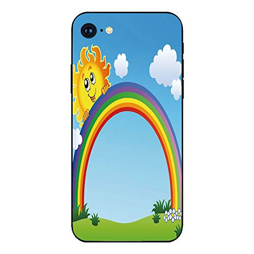 Phone Case Compatible with iphone7 iphone8 mobile phone covers phone shell Brandnew Tempered Glass Backplane,Rainbow,Fun Sun Holding Rainbow on Green Hill with Clear Sky Child Friendly Image Decorativ