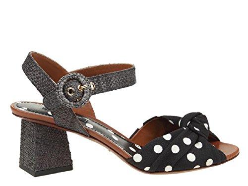 Hn86w Ag369 Gabbana Stoff Skinn Sandaler Nummer Høy Hæl Dolce Sort Cr0240 I Modell 4qA7Faw
