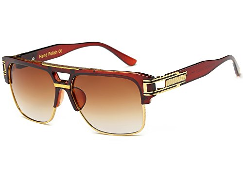 Brown Fashion Aviator - Allt Square Aviator Large Fashion Sunglasses For Men Goggle Alloy Frame Glasses (Brown/Brown Gradient, 61)