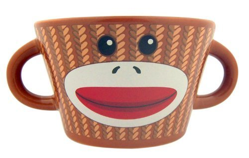 Gift Unique Monkey (The Original Sock Monkey Ceramic Bowl with Handles, 6 Inches)