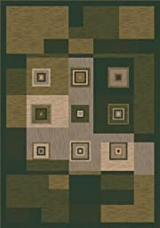 Pastiche Bloques Deep Olive Rug Rug Size: Oval 3\'10\