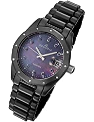 Rougois Womens Black Ceramic Watch with Genuine Diamonds, Blue Sapphires, and Mother of Pearl Dial