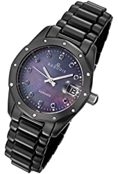 Rougois Women's Black Ceramic Watch with Genuine Diamonds, Blue Sapphires, and Mother of Pearl Dial