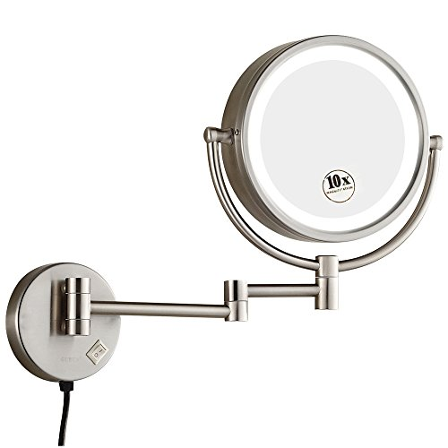 GURUN 8.5 Inch Magnifying Mirror With Led Light Wall Mount,10x Magnification, Brushed - Bathroom Narrow Led Mirrors