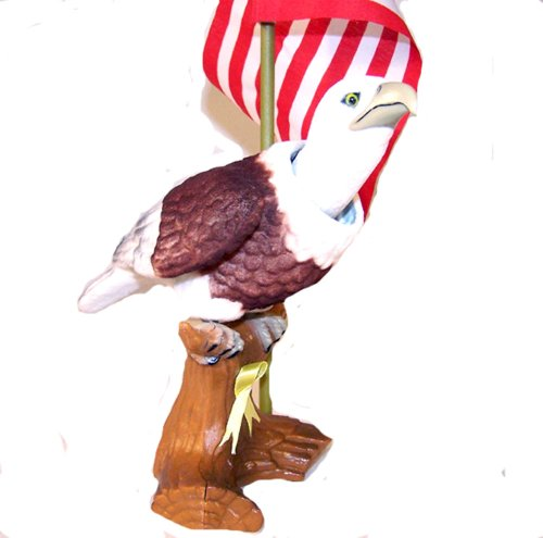 Moving Bobbling Head Eagle with American Flag on a Stick
