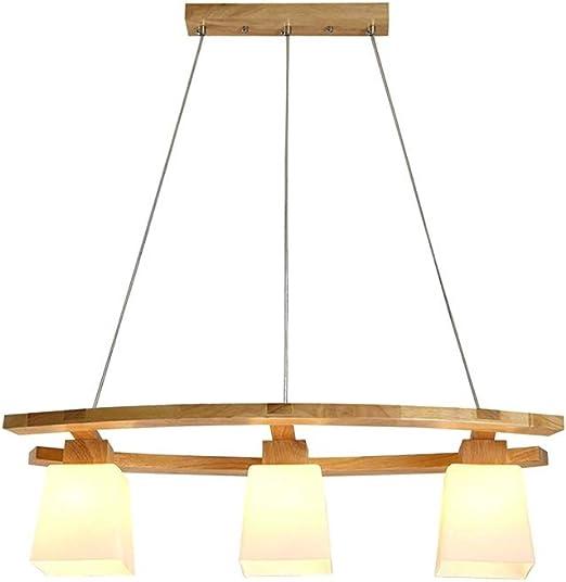 Luckylamp Araña De Madera con Pantalla Vidrio,Lámpara Colgante ...