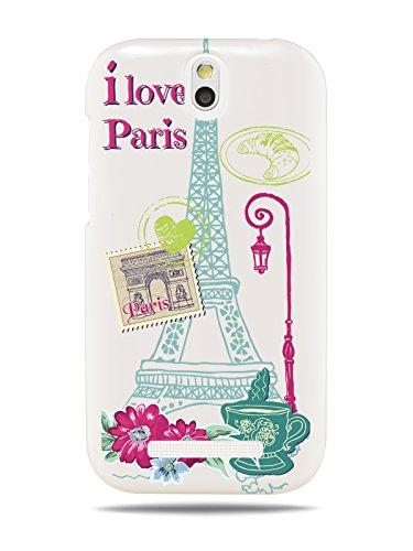 "GRÜV Premium Case - ""I Love Paris Je T'aime Eiffel Tower"" Design - Best Quality Designer Print on White Hard Cover - for HTC Desire SV T326E"