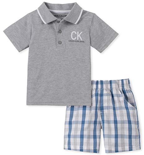 Calvin Klein Baby Boys 2 Pieces Polo Shorts Set, Light Gray Heather/Blue Plaid, 24M
