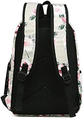 Tamkyo Mode Nylon RéSistant à L'Eau Femmes Sac à Dos Fleur Impression Femme éCole Sac à Dos Filles Quotidien CollèGe Ordinateur Portable Sac à Dos Noir Noir