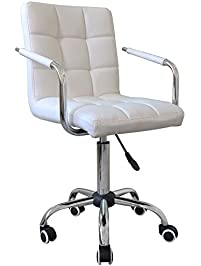 yaheetech modern swivel office chair faux leather home computer desk chairs on wheels white