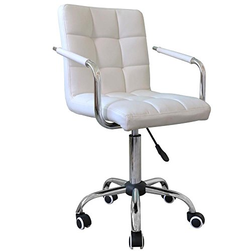 Yaheetech Modern White Faux Leather Swivel Office Task Chairs Gas Lift Computer Desk Chair on Casters wheels by Yaheetech