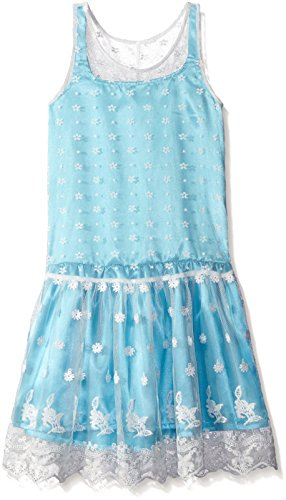 Lining Contrast (BTween Big Girls' Drop Waist Embroidered Mesh Dress with Contrast Lining, Aqua, 8)