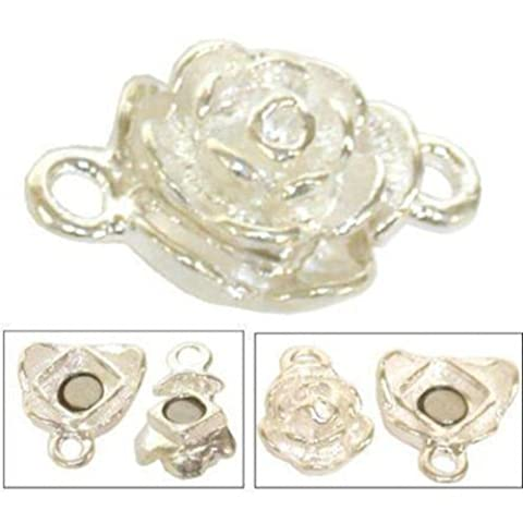Rose Sterling Silver Rose Magnetic Clasp (Magnetic Sterling Silver)