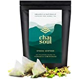 Cha Soul Stress Soother Organic Herbal Tea for Anxiety Relief, Stress Support, Natural Headache and Pain Relief, with full-leaf Lemongrass and Pandan, 20 Biodegradable Tea Bags