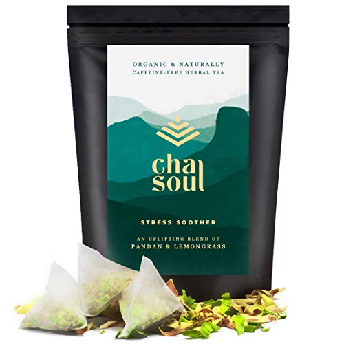 Cha Soul Stress Soother Organic Herbal Tea for Anxiety Relief, Stress Support, Natural Headache and Pain Relief, with full-leaf Lemongrass and Pandan, 20 Biodegradable Tea Bags Review