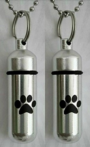 TWO Pet/Dog/Cat - Laser Engraved CREMATION URN Keepsakes with Simple Black PAW - Includes Velvet Pouches, Ball-Chain & Fill Kit