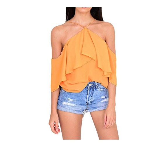 Mr.Macy Womens Pleated Puff Sleeve Tops Ladies Choker Neck Career T-Shirts Blouse (S, Yellow) (Pleated Puff Top Sleeve)