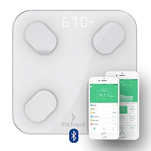- FitTrack Dara Smart BMI Digital Scale - Measure Weight and Body Fat - Most Accurate Bluetooth Glass Bathroom Scale