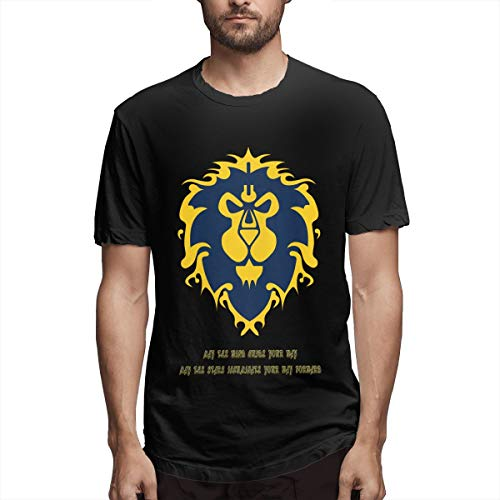 Thno World of Warcraft Alliance Logo Lion Men's Tees Black