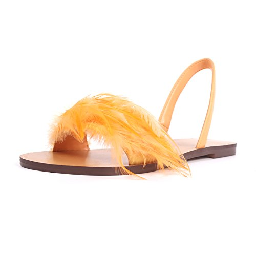 Flat Sandals Female And Beach Sandals Holiday Women Shoes Summer yellow Open Feather ZHANGJIA Shoes Flat Toe Wild Spring Shoes Z5Szxqx4w