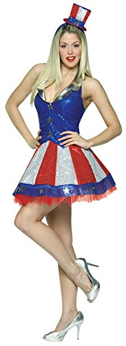 Fourth Of July Halloween Costumes (UHC Women's Aunt Samantha July 4th Independence Patriotic Outfit Holiday Costume, OS (6-10))