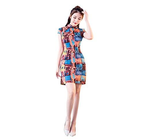 Orange Qipao Cheongsam Imprimé Robe Pour Fleur Jaune Femme Asiatique Courte Acvip zAq7dz