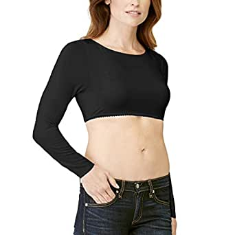 Second Base Demi Cami - Lucy - Layer Over Your Bra - Long Sleeves - Black - Small
