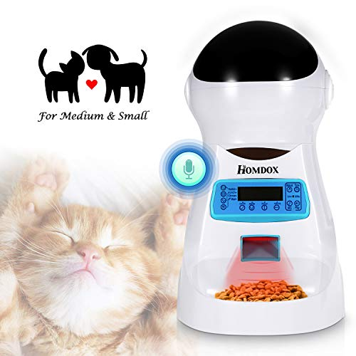 Xuliyme Automatic Cat Feeder Auto Pet Food Dispenser with LCD Display,Voice Record Remind, Timer Programmable, Portion Control for Medium & Large Dog - 4 Meals a Day