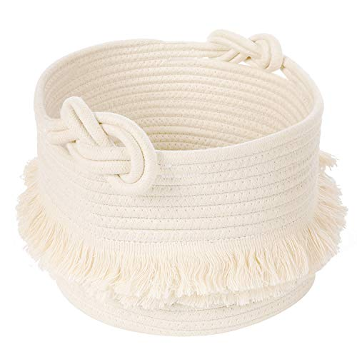 - Small Woven Storage Baskets Cotton Rope Decorative Hamper for Diaper, Blankets, Magazine and Keys, Cute Tassel Nursery Decor - Home Storage Container - 9.5'' x 7''