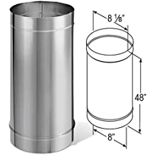 """DuraVent 8DBK-48SS 8"""" Inner Diameter - DuraBlack Stove Pipe - Single Wall - 48"""", Stainless Steel"""