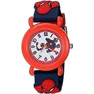 Marvel Boy's 'Spider-Man' Quartz Plastic Casual Watch, Color:Blue (Model: WMA000161)