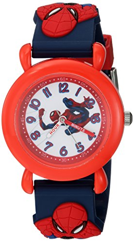 Marvel Boy's 'Spider-Man' Quartz Plastic Casual Watch, Color:Blue (Model: WMA000161)