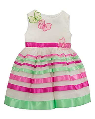 Rare Editions Little Girls' Easter Special Occasion Dress, Ivory/Magenta/Green, 5 (Magenta Green)