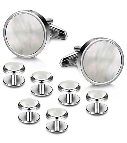 LOYALLOOK 8pcs Mens Silver Tone Mother of Pearl Shell Round Cufflinks and Shirt Stud Set Tuxedo Shirts Business Wedding ()
