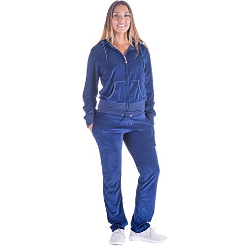 Mavis Garments Black Grey Womens Velvet Zip Hooded Sweatshirt Athletic Soft Plus Size Hooded and Sweat Pants Tracksuit Set (M, Navy) (Velour Womens Hoodies Zip)
