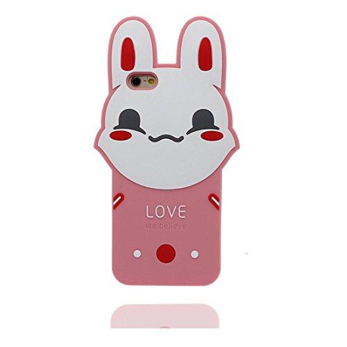 """Apple iPhone 6 Plus Coque (5.5""""), [ de matériau TPU souple ] iPhone 6s Plus étui (5.5 pouces), poussière glissement résistant aux rayures, iPhone 6 Plus Case rose lapin et stylet"""