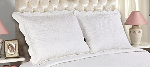 All For You 2-Piece Embroidered Pillow Shams-King size-white