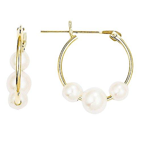 Freshwater Cultured Pearl Hoop Earrings 14K Yellow - Pearl Earrings Cultured Gold Hoop 14k