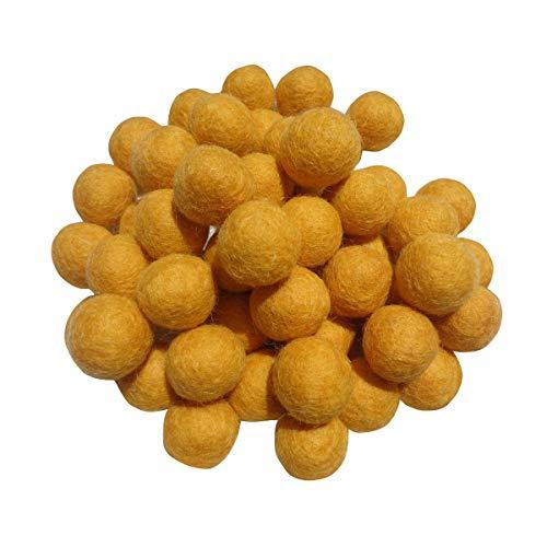 2cm 20mm Wool Felt Balls Beads 100% Natural Wool Felting Woolen Felted Fabric for Home Decor Dream Catcher DIY Baby-Mobile Garland Crafts Handcrafts Project DIY (Light Ginkgo Yellow 50pcs)