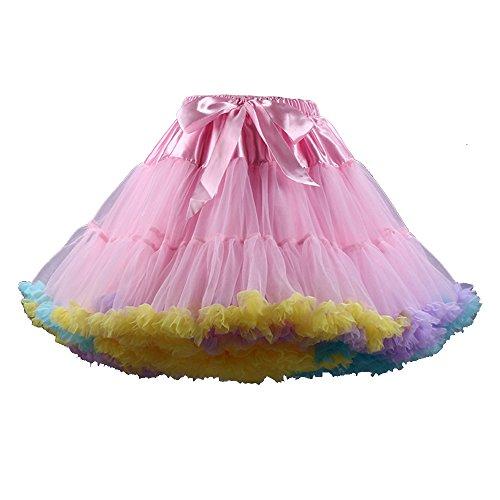 OCHENTA Femme Jupe en mousseline de soie Tulle jupe tutu femmes Danse de ballet Mini Jupe Rose Color
