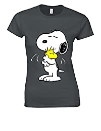 Snoopy PEANUTS Cartoon Happy Cute White Women T Shirt Top
