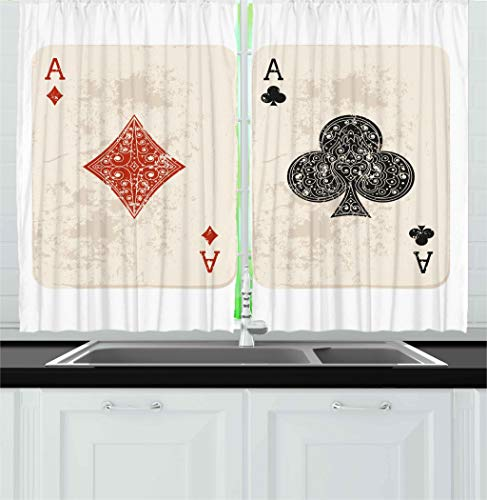 (Ambesonne Lifestyle Decor Kitchen Curtains, Ace of Diamonds Clubs Poker Cards Game Grunge Gambling Fortune Illustration, Window Drapes 2 Panels Set for Kitchen Cafe, 55W X 39L Inches, Cream Red)