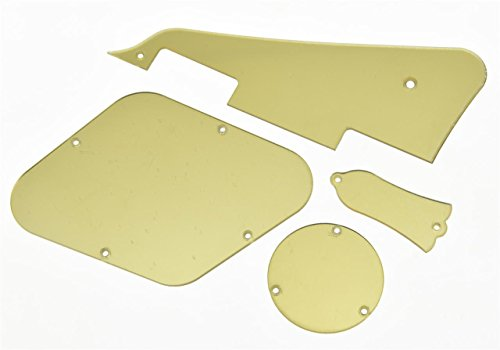 KAISH Gold Mirror LP Pickguard Rear Cavity Covers Truss Rod Cover Set for Gibson Les Pauls