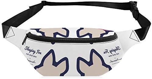 独自のスリーピングフォックス-ネイビーをカットして縫う ウエストバッグ ショルダーバッグチェストバッグ ヒップバッグ 多機能 防水 軽量 スポーツアウトドアクロスボディバッグユニセックスピクニック小旅行