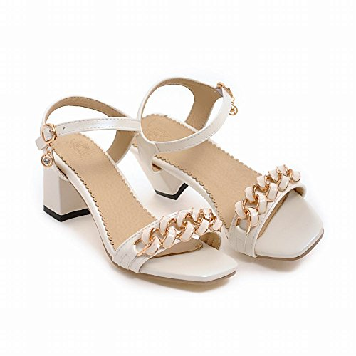 Mee Shoes Women's Chic Mid Heel Ankle Strap Square Toe Buckle Sandals White qhVgpdc