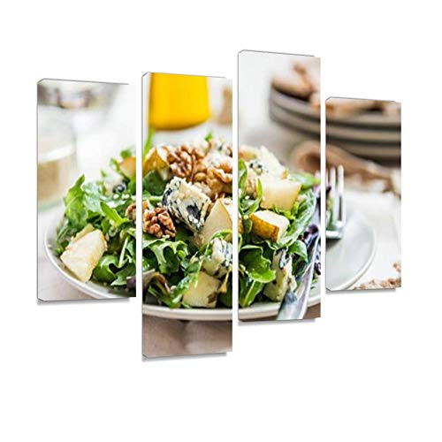 (Green Salad with Pears, Blue Cheese, Walnuts Canvas Wall Art Hanging Paintings Modern Artwork Abstract Picture Prints Home Decoration Gift Unique Designed Framed 4)