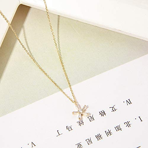 Small flower flash diamond necklace S925 pure silver collar necklace water diamond pendant necklace flower necklace